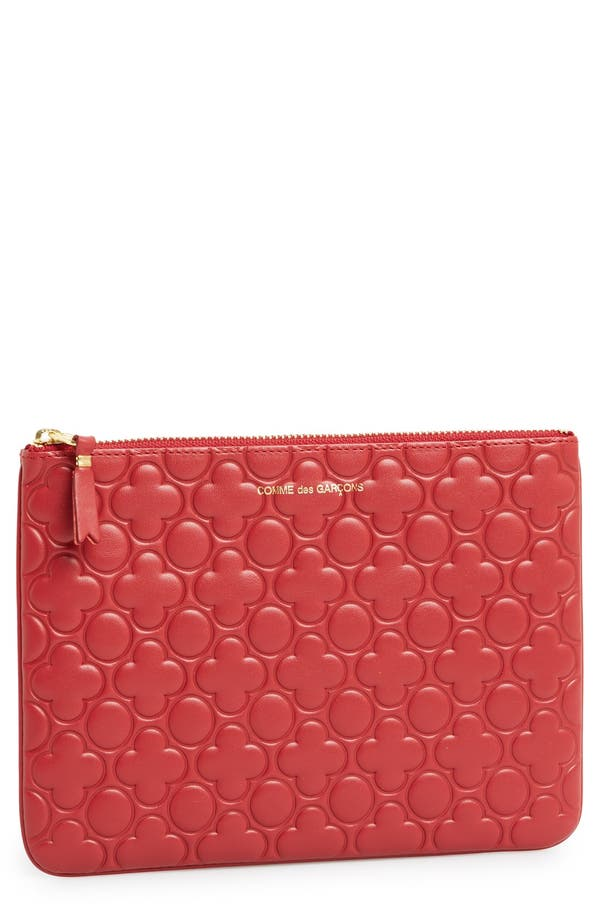 Alternate Image 1 Selected - Comme des Garçons Large Embossed Leather Pouch