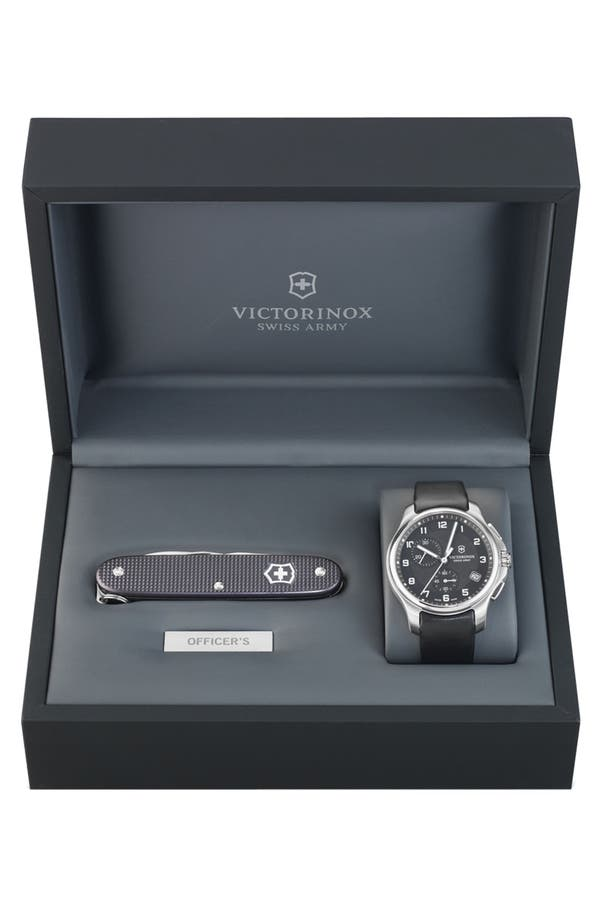 Alternate Image 1 Selected - Victorinox Swiss Army® 'Officer's' Leather Strap Watch with Knife, 40mm