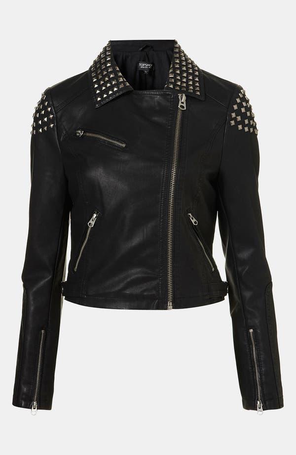 Main Image - Topshop Studded Faux Leather Biker Jacket