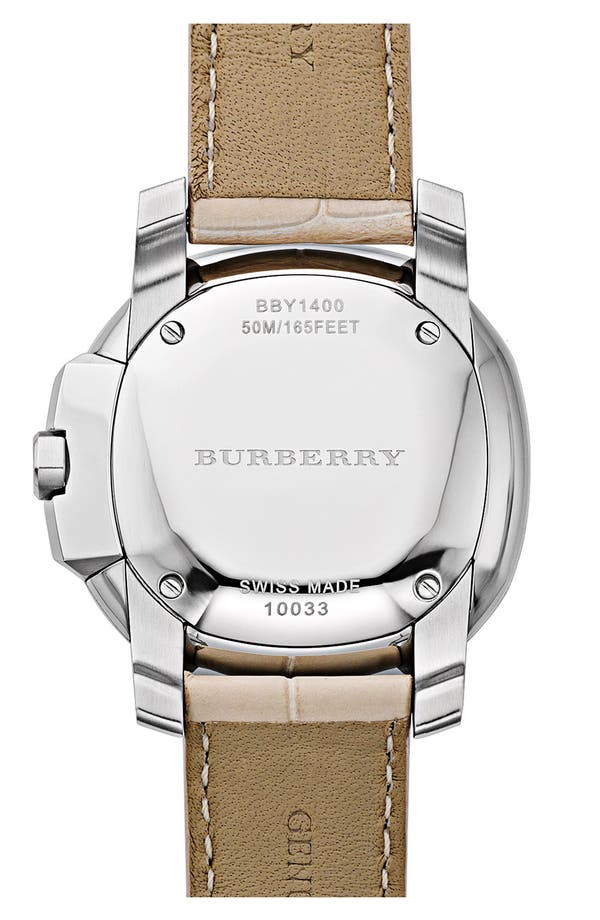 Alternate Image 3  - Burberry The Britain Diamond Bezel Alligator Strap Watch, 38mm