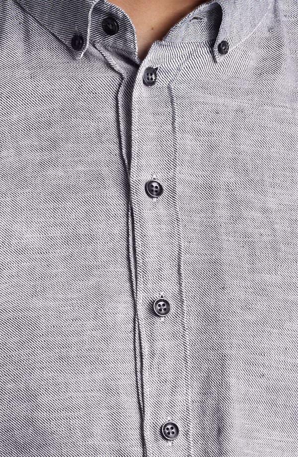 Alternate Image 3  - Armani Collezioni Stripe Flax & Cotton Sport Shirt