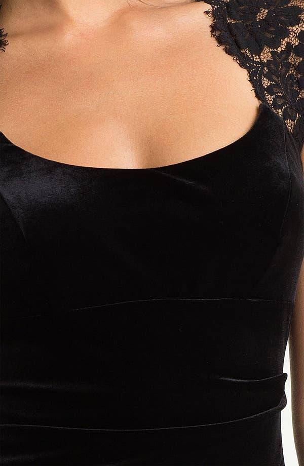 Alternate Image 3  - Xscape Lace Shoulder Ruched Velvet Sheath Dress
