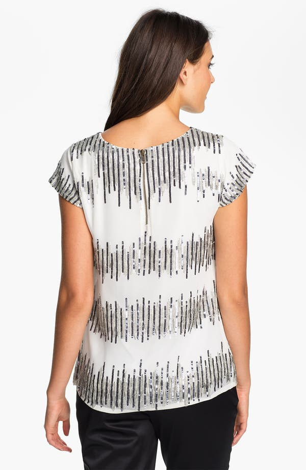 Alternate Image 2  - Adrianna Papell Short Sleeve Sequin Chiffon Blouse