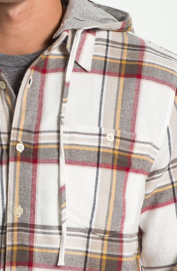 Alternate Image 3  - Threads for Thought Plaid Flannel Shirt with Removable Hood