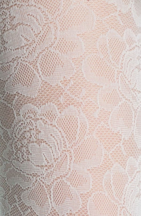 Alternate Image 2  - Frenchi® Floral Lace Tights (Juniors)
