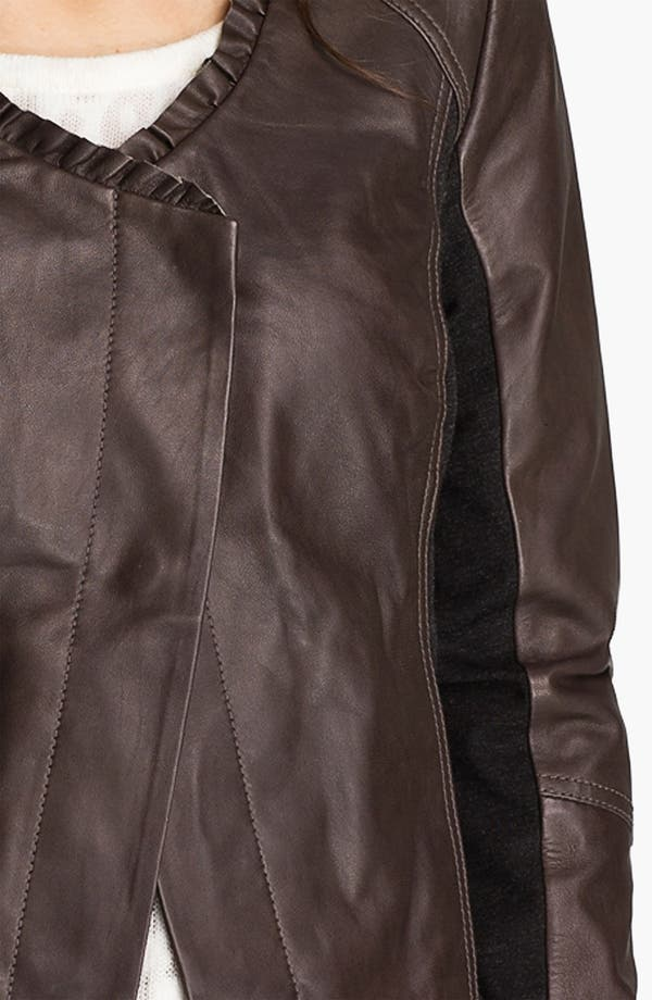 Alternate Image 3  - Hinge® Ruffle Neck Leather Jacket