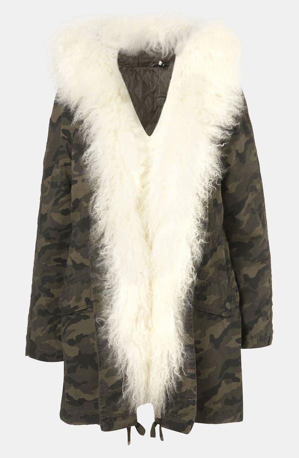 Alternate Image 1 Selected - Topshop 'Benny' Genuine Mongolian Sheep Fur Trim Camo Parka