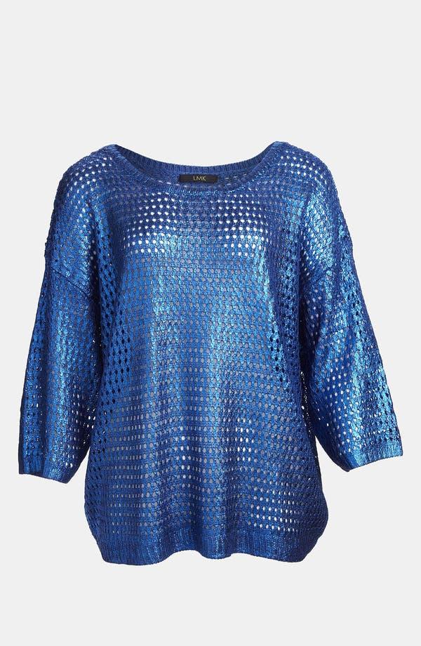 Alternate Image 1 Selected - LMK Metallic Mesh Sweater
