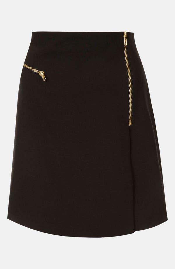 Main Image - Topshop Flannel Faux Wrap Skirt