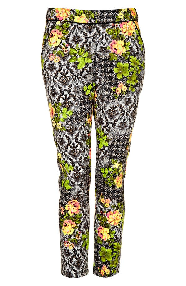 Main Image - Topshop 'Acid Leaf' Print Crop Cigarette Pants