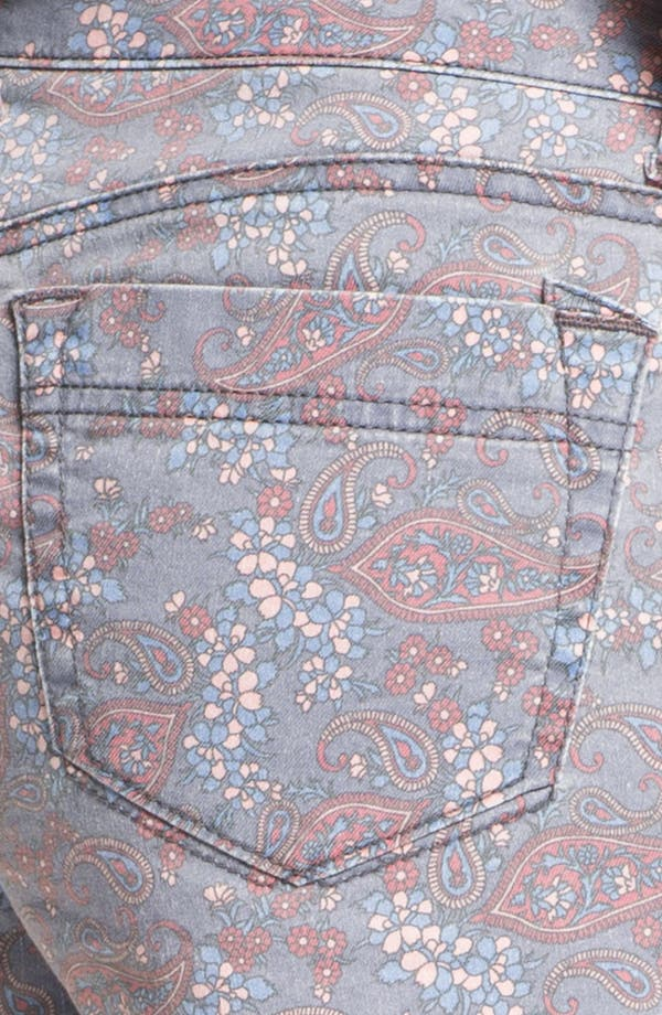 Alternate Image 3  - Jolt Paisley Print Denim Cutoff Shorts (Juniors)