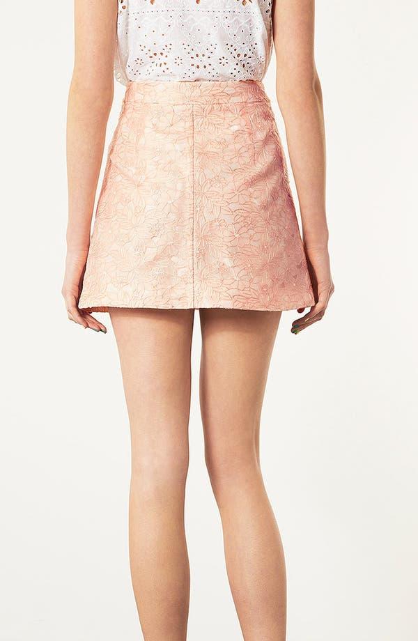 Alternate Image 2  - Topshop Embroidered High Waist A-Line Miniskirt