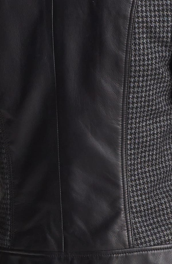 Alternate Image 3  - Trouvé Houndstooth Panel Quilted Leather Moto Jacket