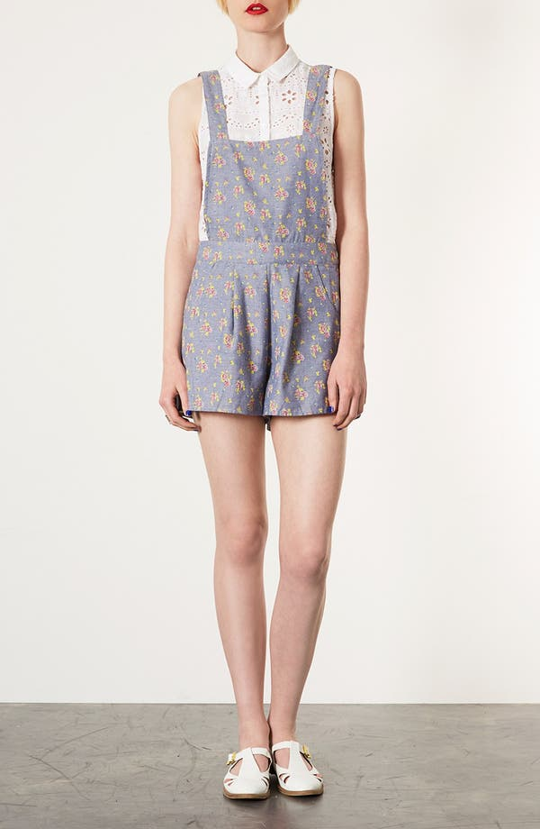 Alternate Image 1 Selected - Topshop Floral Chambray Romper