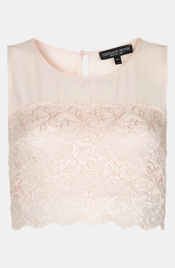 Main Image - Topshop Lace Crop Top (Petite)
