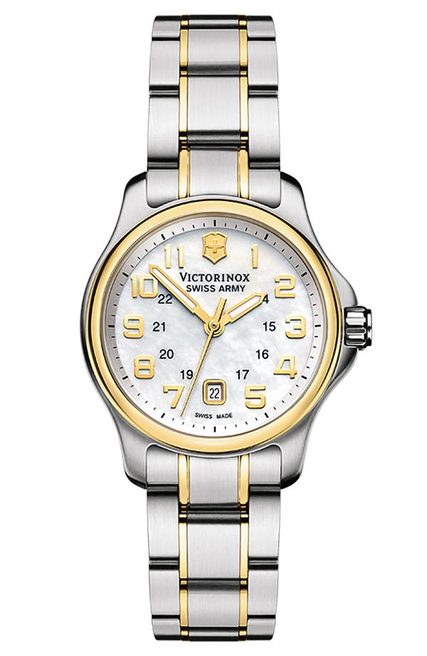 Alternate Image 1 Selected - Victorinox Swiss Army® 'Officers - Extra Small' Two Tone Watch, 28mm