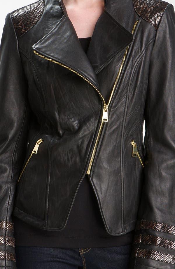 Alternate Image 3  - bebe Snakeskin Embossed Trim Leather Jacket