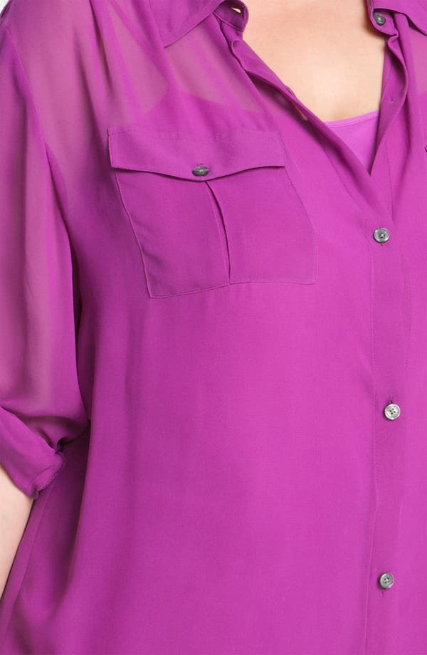 Alternate Image 3  - DKNYC Sheer Big Shirt & Camisole (Plus)