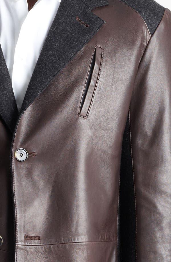 Alternate Image 3  - Salvatore Ferragamo Cotton Trim Leather Jacket