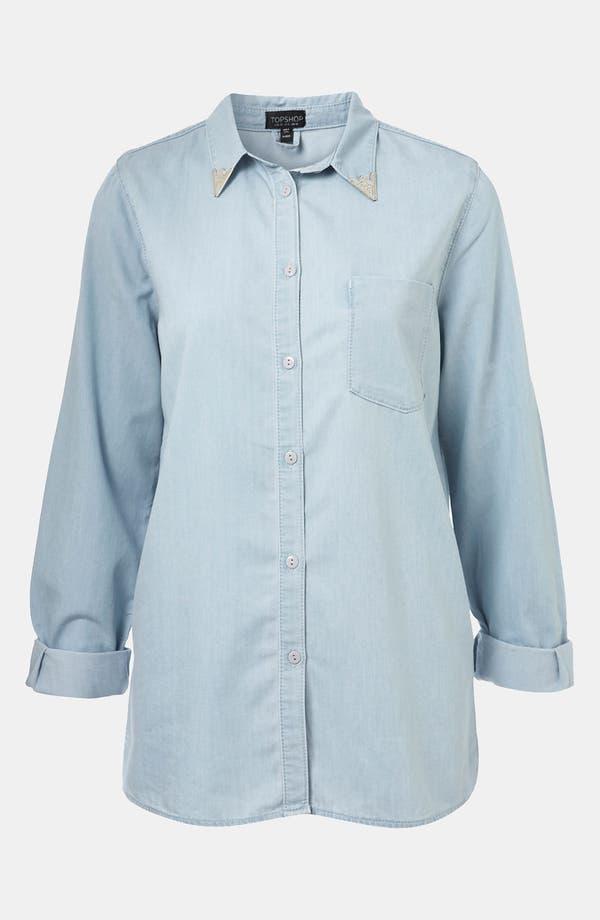 Main Image - Topshop Moto Western Tip Denim Shirt
