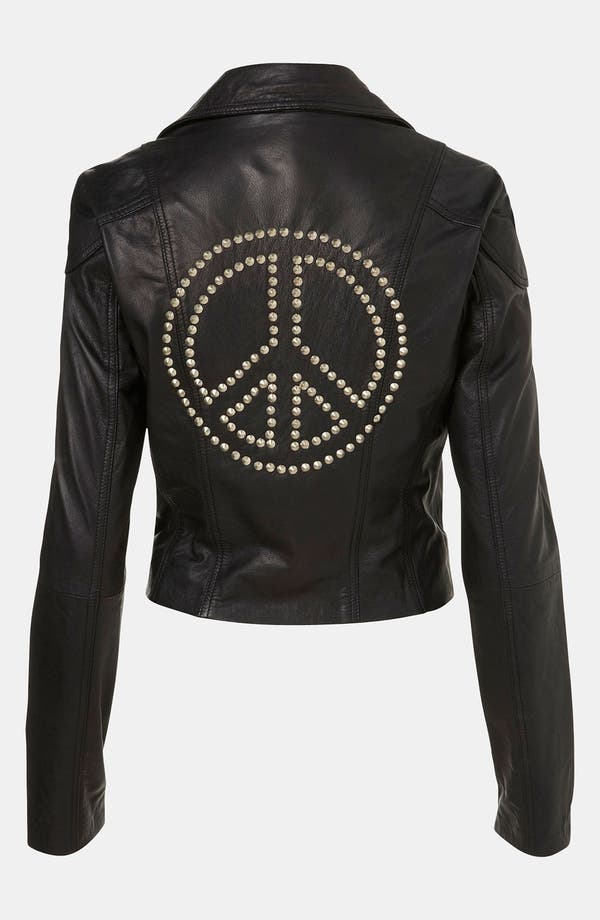 Main Image - Topshop 'Peace' Studded Leather Jacket