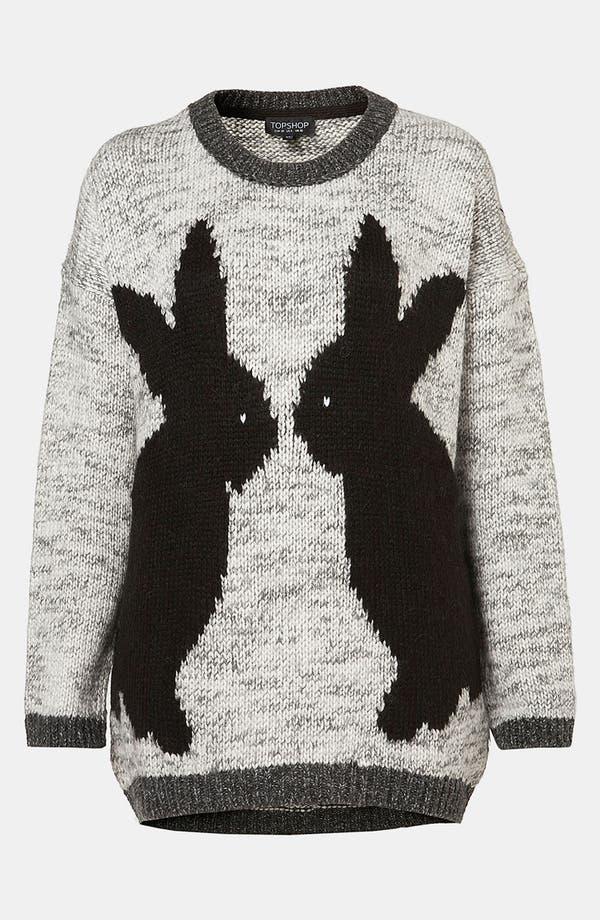 Main Image - Topshop 'Mirror Bunnies' Sweater (Petite)