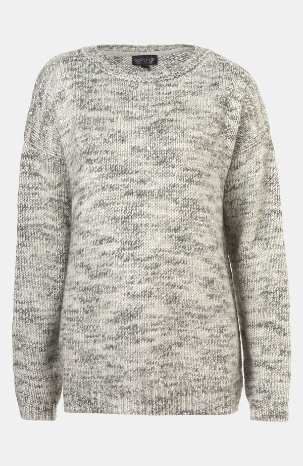 Alternate Image 1 Selected - Topshop Tweedy Rhinestone Embellished Sweater