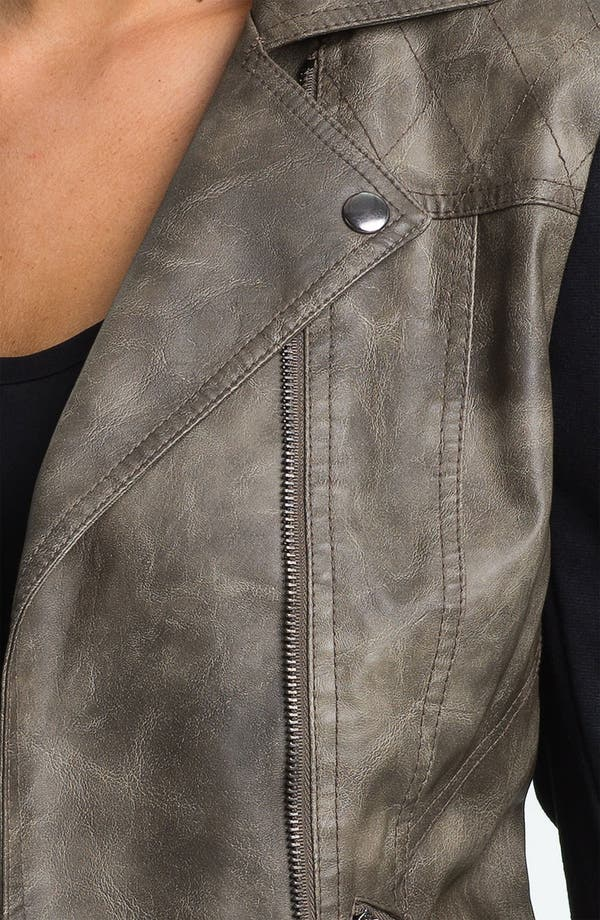 Alternate Image 3  - Collection B Faux Leather & Ponte Jacket (Juniors)
