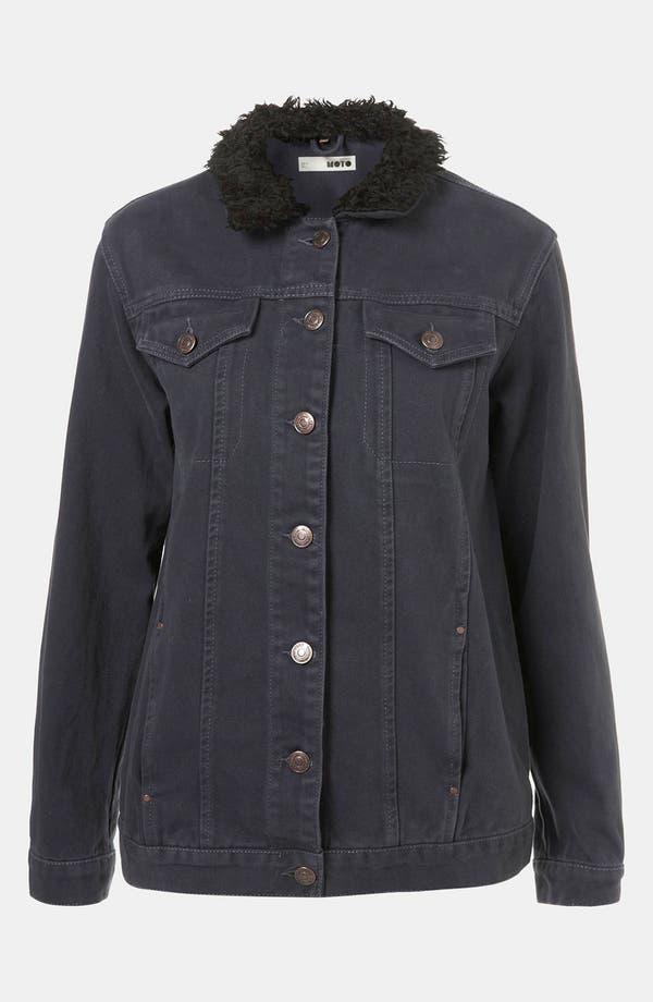 Alternate Image 2  - Topshop Moto Plush Lined Denim Jacket