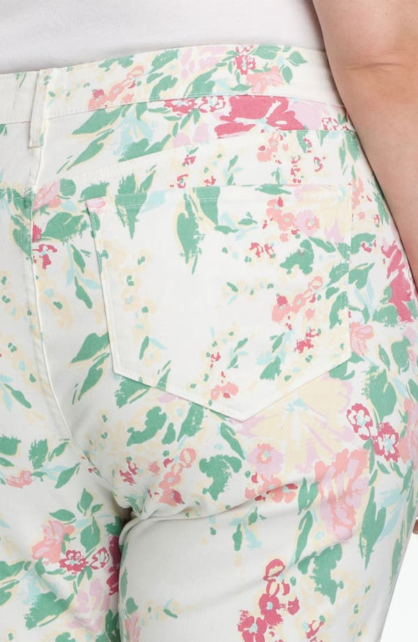 Alternate Image 3  - NYDJ 'Audrey' Floral Print Ankle Jeans (Plus)
