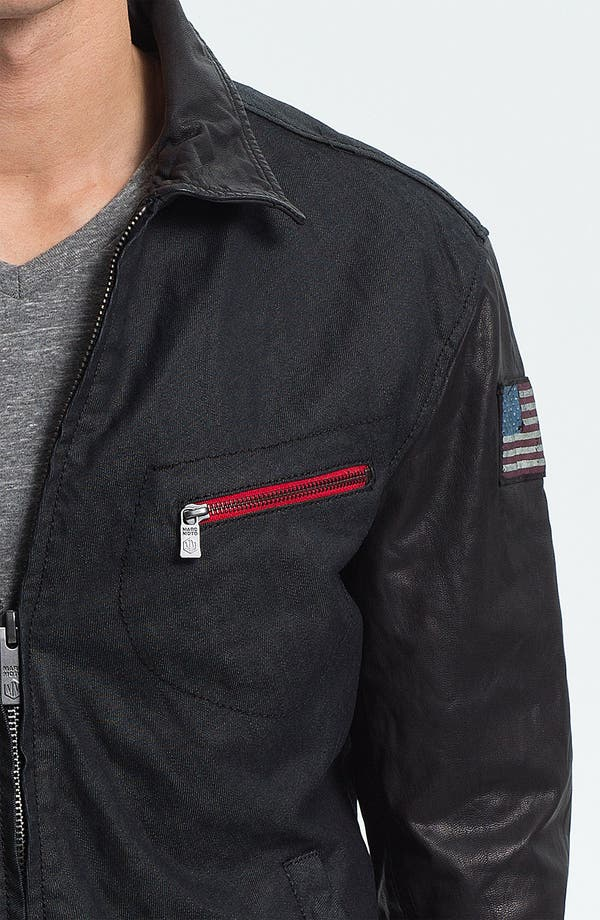 Alternate Image 3  - Denim & Leathers by Andrew Marc Denim Jacket with Leather Sleeves