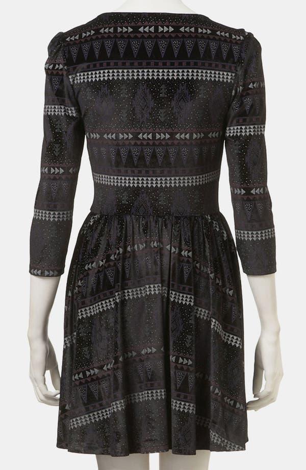 Alternate Image 2  - Topshop Aztec Print Velvet Skater Dress