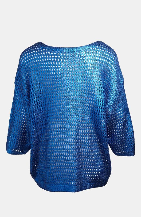 Alternate Image 2  - LMK Metallic Mesh Sweater