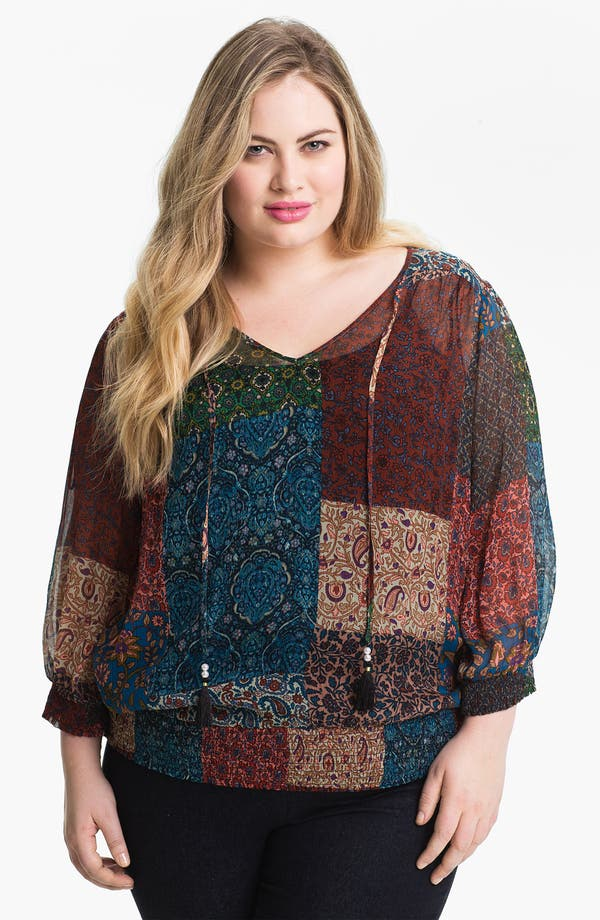 Alternate Image 1 Selected - Lucky Brand 'Palisades Stevie' Patchwork Print Top (Plus Size)