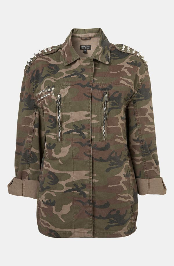 Alternate Image 3  - Topshop Studded Camo Jacket