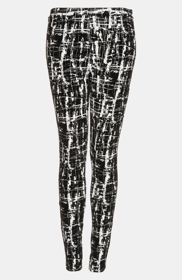 Main Image - Topshop Flocked Scratch Print Skinny Pants