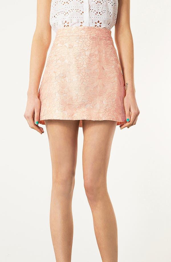 Main Image - Topshop Embroidered High Waist A-Line Miniskirt