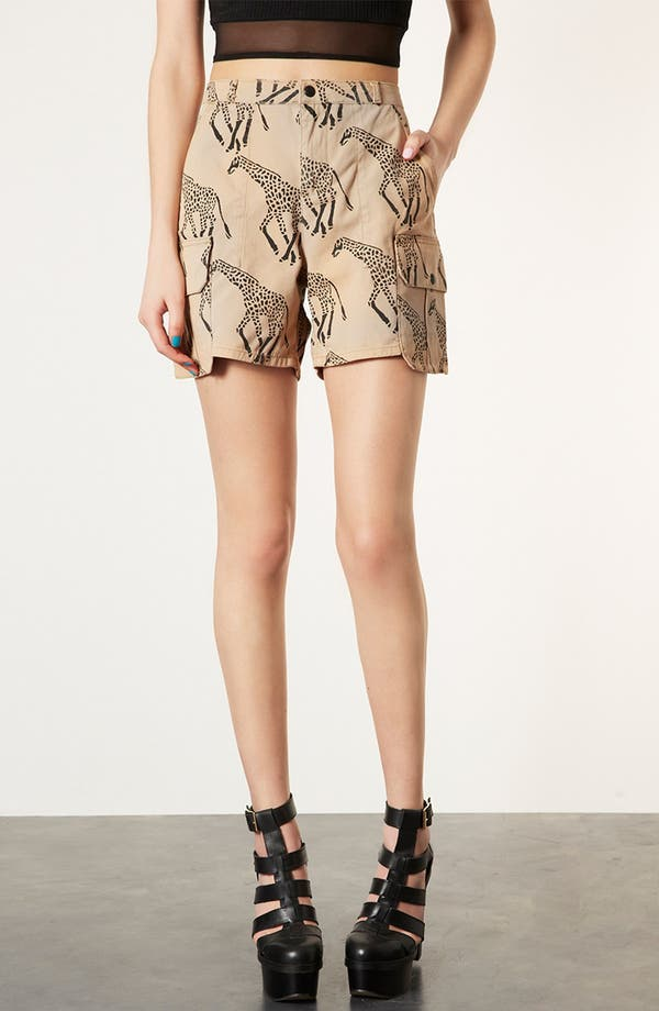Alternate Image 1 Selected - Topshop Giraffe Print Cargo Shorts