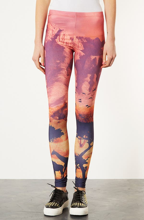 Alternate Image 1 Selected - Topshop 'Giraffe Scene' Print Scuba Leggings