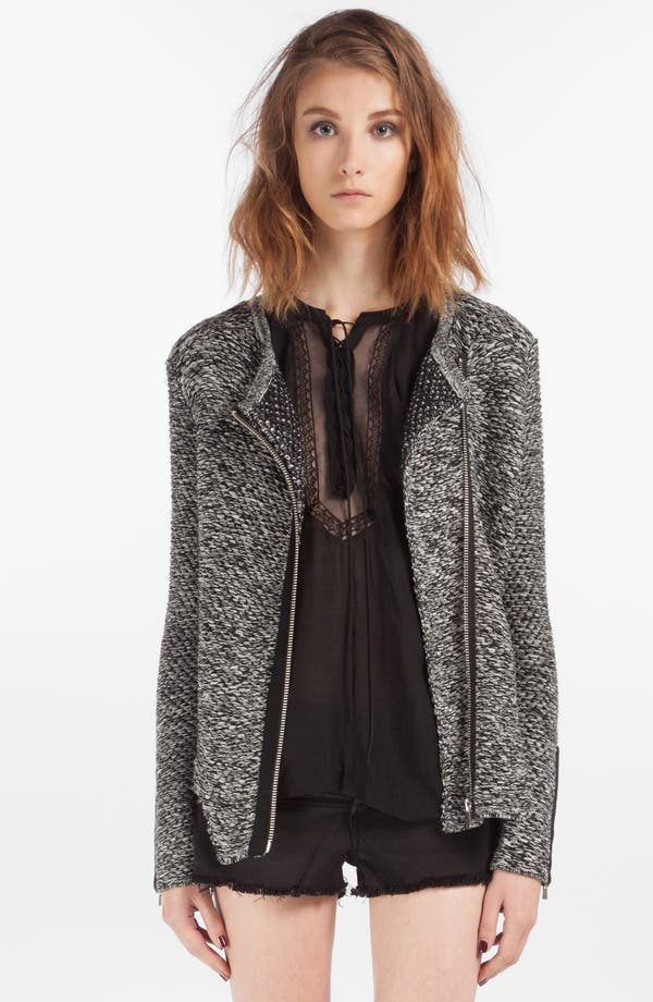 Main Image - maje 'Dollard' Zip Cuff Marled Sweater Jacket