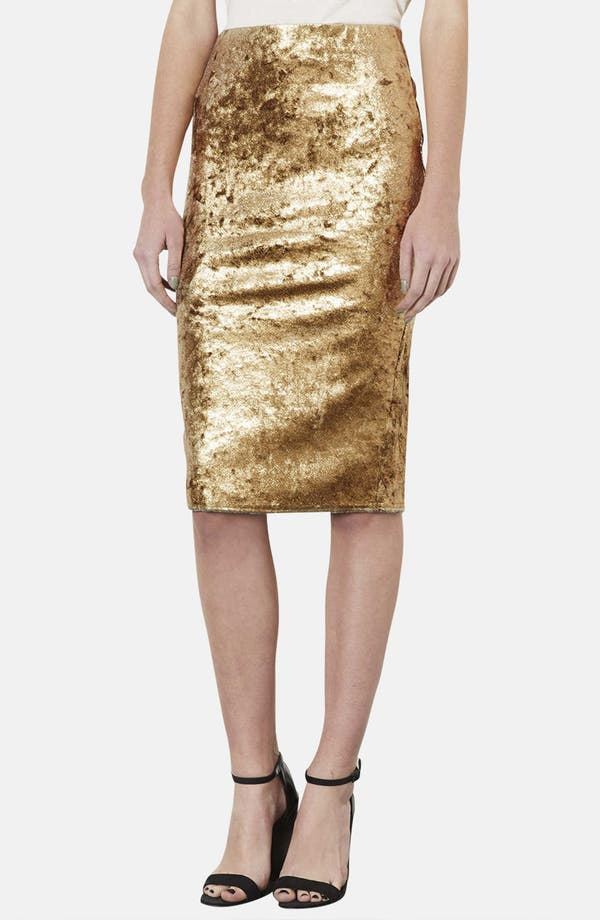 Main Image - Topshop Metallic Foil Velvet Tube Skirt