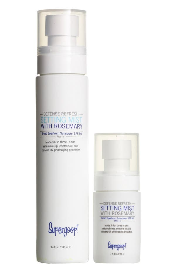Main Image - Supergoop!® Defense Refresh Setting Mist SPF 50 Home & Away Duo (Limited Edition) (Nordstrom Exclusive) ($40 Value)