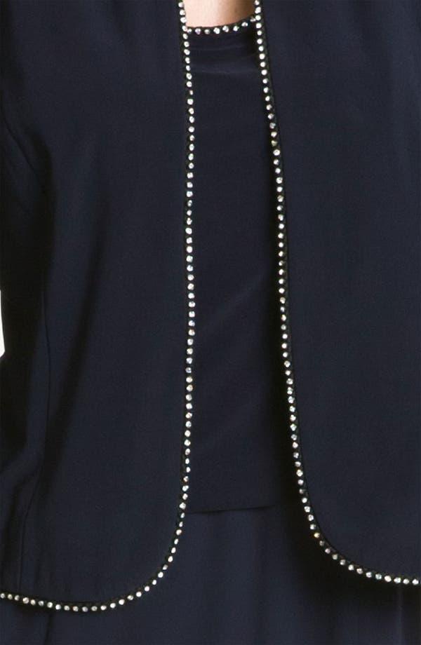 Alternate Image 4  - Alex Evenings Rhinestone Trim Mix Media Dress & Jacket