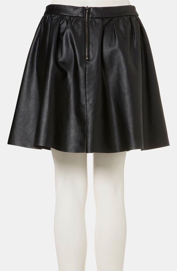 Alternate Image 2  - Topshop Faux Leather Skater Skirt