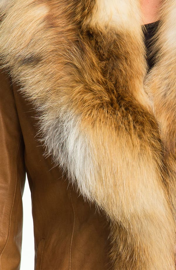 Alternate Image 3  - Chosen Furs Lambskin Leather Coat with Fox Fur Trim