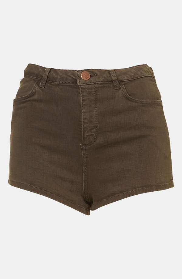 Main Image - Topshop Moto 'Suri' Denim Hot Pants (Olive)
