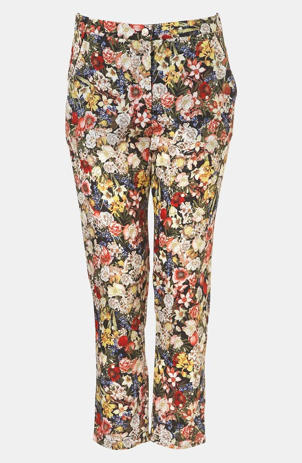 Alternate Image 1 Selected - Topshop Floral Print Crop Cigarette Pants