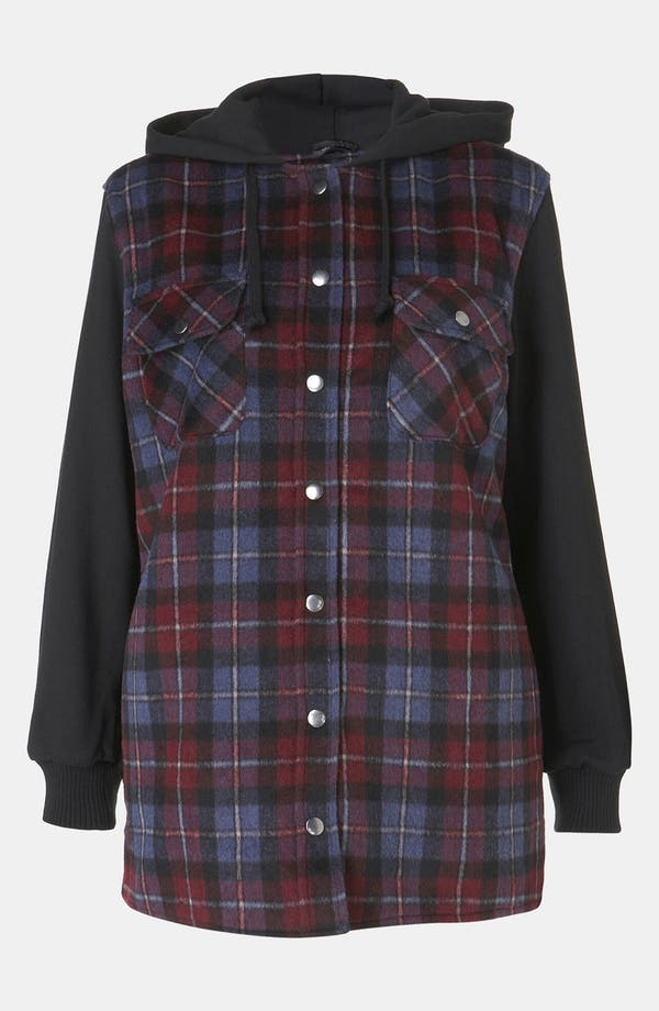 Alternate Image 1 Selected - Topshop Plaid Hooded Jacket