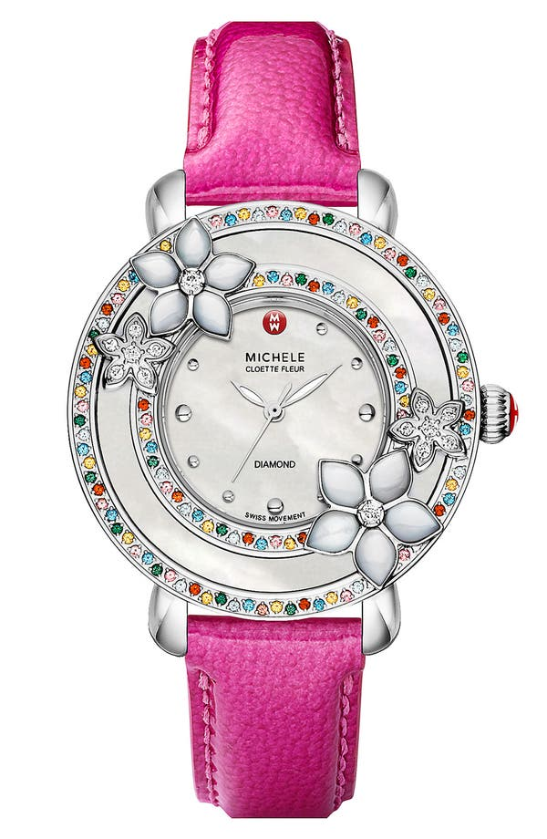 Alternate Image 3  - MICHELE 'Cloette Fleur' Colored Stone Watch Case, 38mm