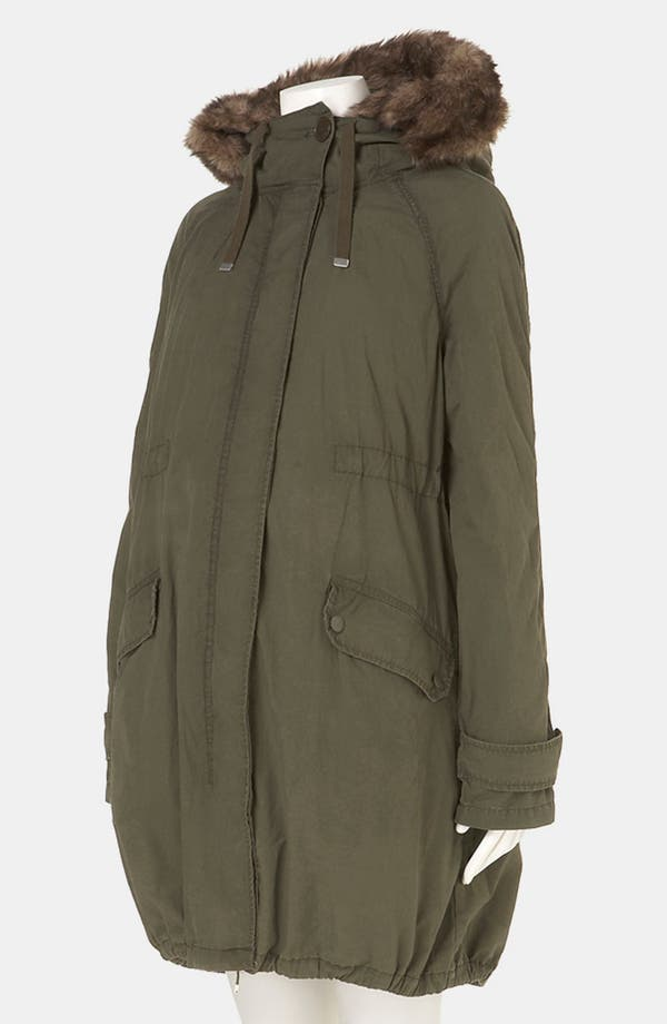Alternate Image 2  - Topshop 'Benny' Faux Fur Trim Maternity Parka